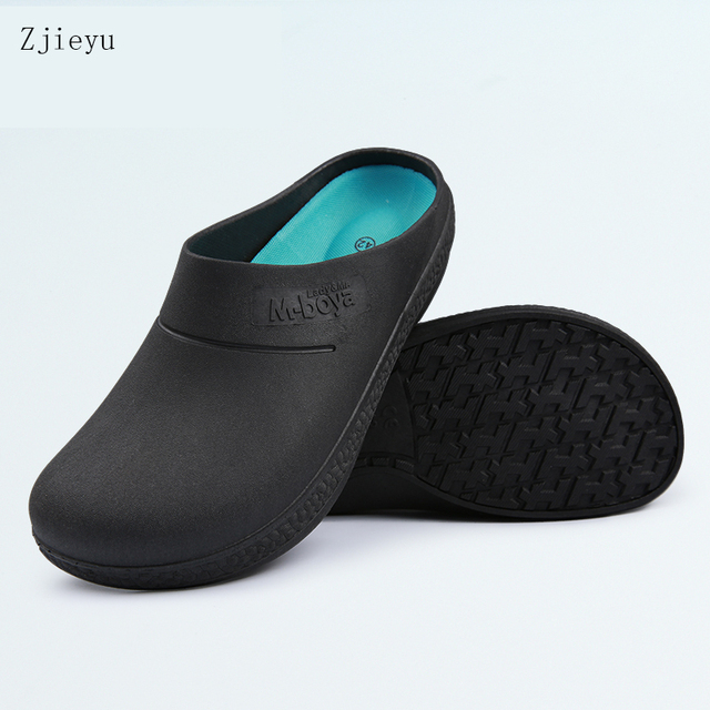 New Black Chef Safety Shoes Light Non Slip Shoes With Breathe Hotel