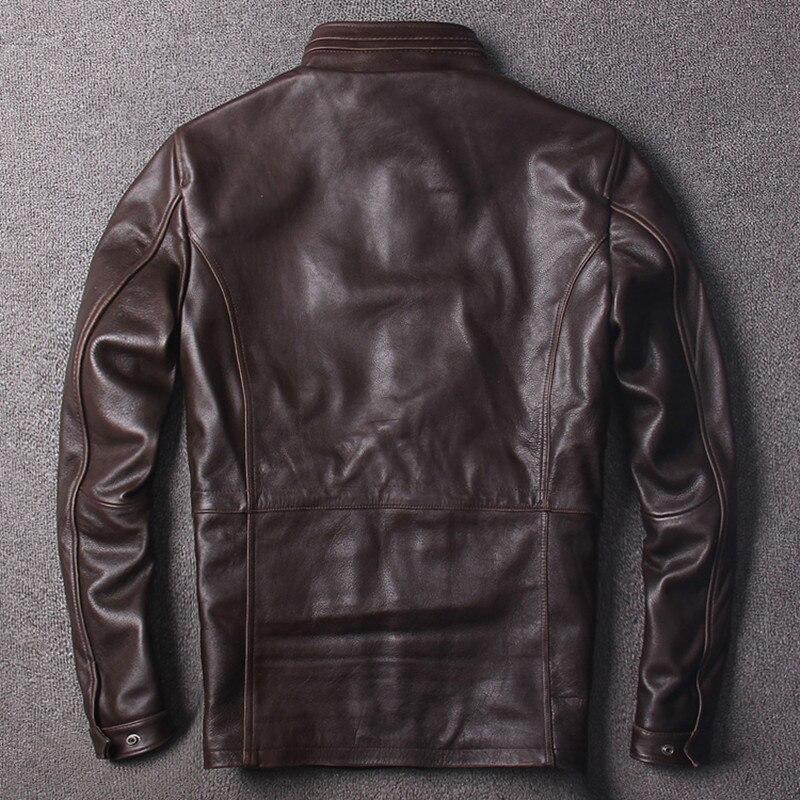 Brun Militaire Vintage Véritable Cuir Fit 2019 Xxxxxl M65 Épaisse Long Manteau Taille Vachette Slim Brown Livraison En Gratuite Veste Grande b76Yfvgy