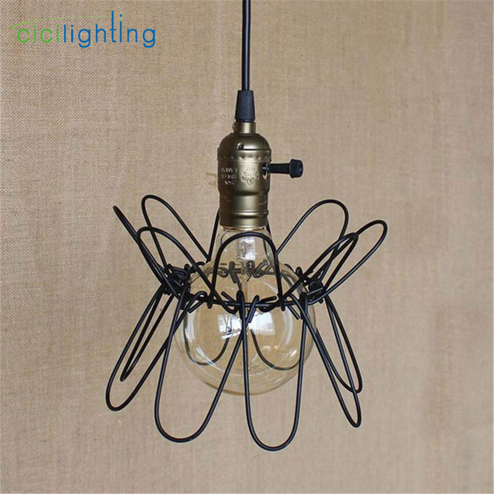 Retro American Style Iron Pendant Light Vintage Industrial Lighting Designer Bar Cafe Home Pendant Hanging Lights lampara new loft vintage iron pendant light industrial lighting glass guard design bar cafe restaurant cage pendant lamp hanging lights