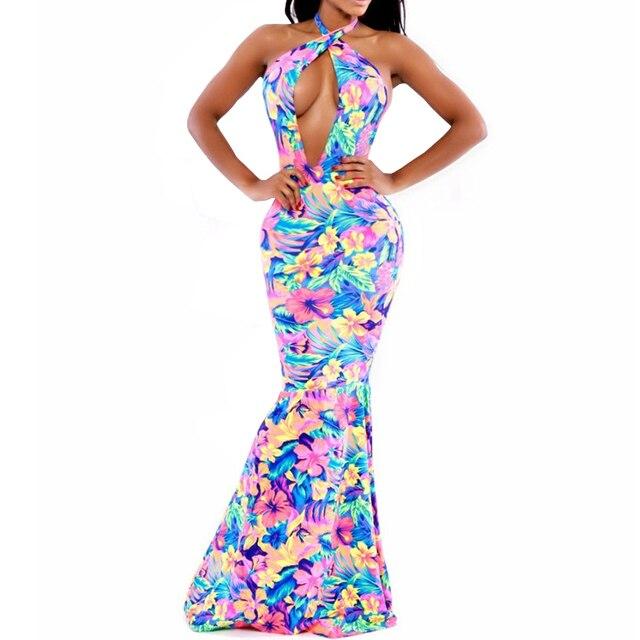 26300b08ad1 Women Club Factory Dresses Sexy Halter Show Cleavage Colorful Mermaid Dress  Elegant Bodycon Long Night Club Wear Vestido Festa