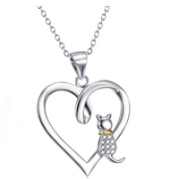 Fashion 925 Sterling Silver Jewelry Reminders Cat Lover Friendship Hollow Heart Charm Necklace For Women