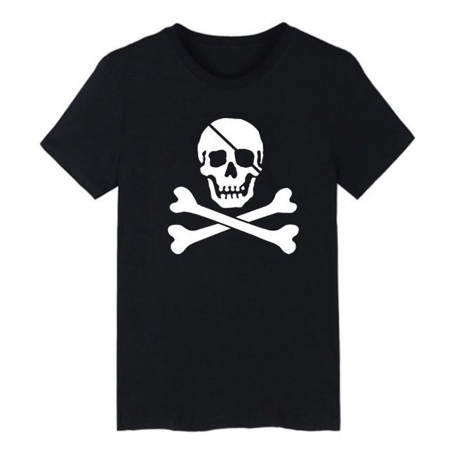 62c8174d605b Jolly Roger T Shirt Skull and Crossbones Printing Men Tops Fashion  Streetwear Hip Hop Punk Rock Cool Graphics Tee Shirt Homme