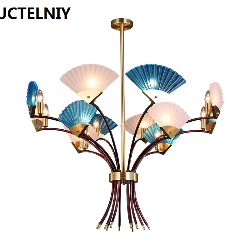 Fashion LED fan chandelier with sitting room dining-room personality teahouse study adornment bedroom atmosphere