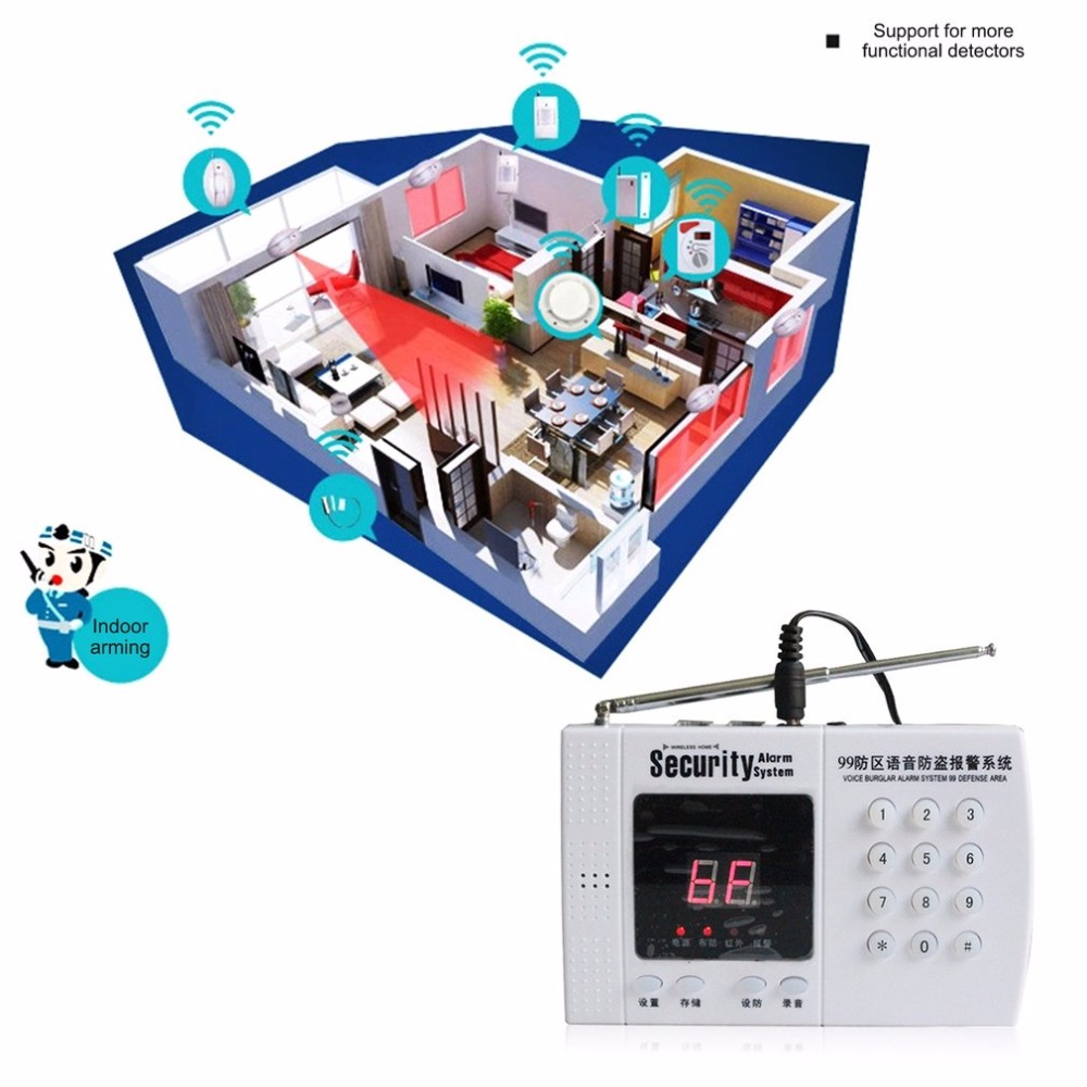 Telephone Line Dialing Alarm P61 Intelligent Voice Anti-theft Alarm System Home Office Remote Control Wireless Security Alarm intelligent wireless infrared sensor telephone alarm anti theft alarm shop home security alarm system