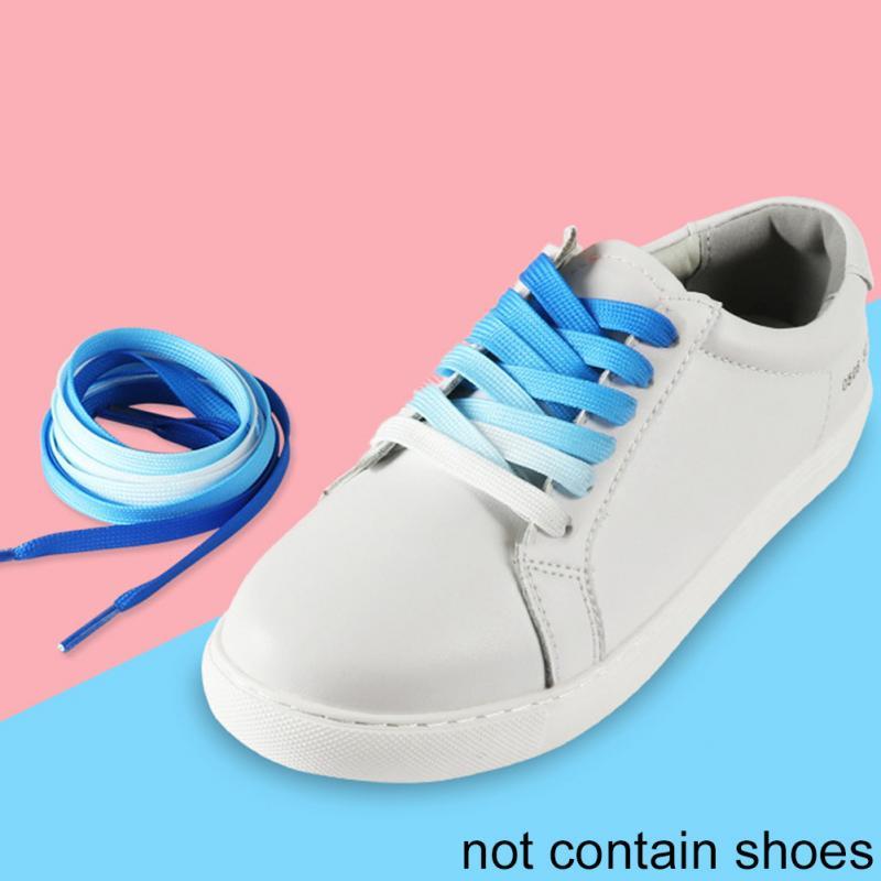 цена на 100cm Gradient Ramp Flat Fashion Colorful Rainbow Graduate Color Leisure Shoestring Shoelace