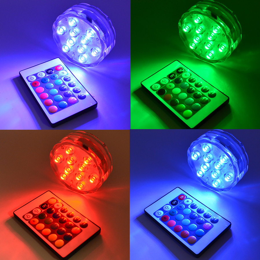 4pcs/lot RGB LED Underwater Light Battery Operated IP67 Waterproof Swimming Pool Light LED Submersible for Party Piscina Pond