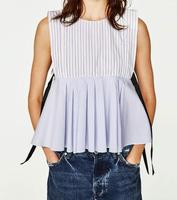 2017 WISHBOP NEW WOMAN Blue White STRIPED PLEATED Sleeveless TOP Round Neck Black Bow Details At