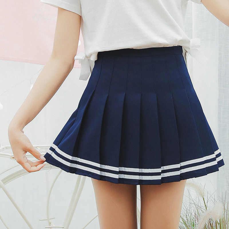 Kobiety Plaid spódnica Lolita styl Harajuku Kawaii słodkie paski spódnice Mini śliczne szkoła mundury Saia Faldas damskie Jupe SK6655