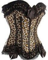Sexy Bandeau Corsagen Top Corset Bustier Leoparden Print