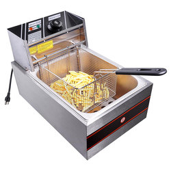 6L Commercial  Stainless Steel Countertop Electric Open Potato Chips French Fries Fryer Dual 1 Tank