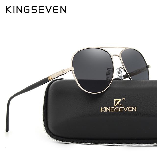 b7034def6f5bd KINGSEVEN Aviação Óculos De Sol do Desenhador Polarizados Condução Homens  óculos de Marca Rodada Óculos de