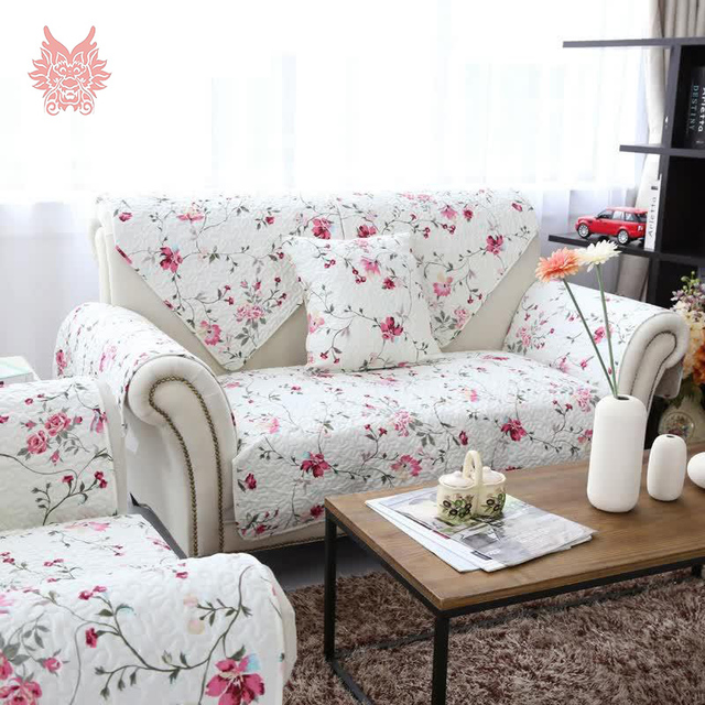 American style white pink floral print quilting sofa cover for Canape sofa cover
