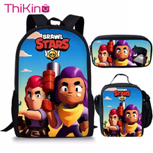 Thikin Brawl Stars 3pcs Bag Set Boys School Bags Kids School Backpack for Girl Bookbag Student Schoolbag Kids Pen Pencil Bag