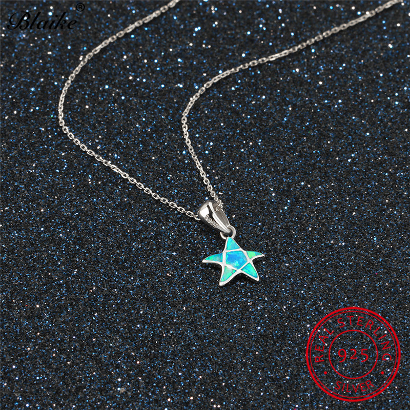 Blaike 100% Real S925 Sterling Silver Star Pendants Fine Jewelry Blue Fire Opal Charm Necklaces For Women Rainbow Choker Jewelry