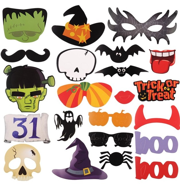 22pcs Halloween Decoration Photo Booth Props Fun Mustache Scary ...