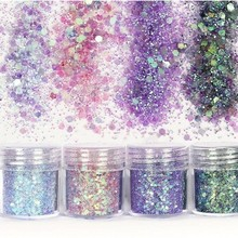 4 Colors/Lot Glitter Nail Art Dust Tool Kit Acrylic Gem Polish Nail Tools 3D Nail Art Decorations Chunky Nail Glitter Powder 10G 10g bag diy marquise acrylic gold sliver 3d nail art decorations charms glitter nail decoration tools sticker tips