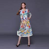 Custom Dress S 6XL 2016 Summer Newest Silk Colorful Porcelain Print O Neck Full Sleeve Elegant