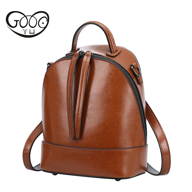 GOOG YU Fashion Genuine Leather Women Backpack Hot High Quality Famous Brand Preppy Style String Women