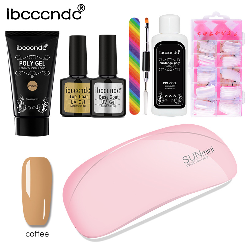 Image 2 - 1 set Extend Builder Polygel Nail Kit Poly Gel Set Nail Quick Extension UV LED Hard Gel Acrylic Builder Gel with Nail Lamp-in Sets & Kits from Beauty & Health
