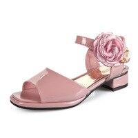 Girls Flower Peal Decoration Sweet Sandals Princess Peep Toe Low Heels Dress Sandals Kids Party Wedding Shoes AA51328