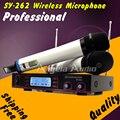 Бесплатная доставка профессиональный двухканальной портативных системы микрофона ресивер майк для караоке DJ этап микрофон