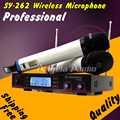 Free Shipping Professional Dual Channel Handheld UHF Wireless Microphone System Receiver Mike Mic For Karaoke DJ Stage Microfone