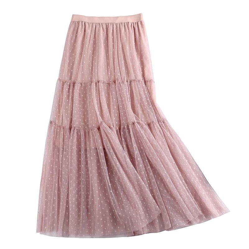 Summer 2019 New Long Pleated Skirts Womens Casual Loose Skirt High Waist Elascity Faldas Party Skirt Streetwear Jupe Femme Saias