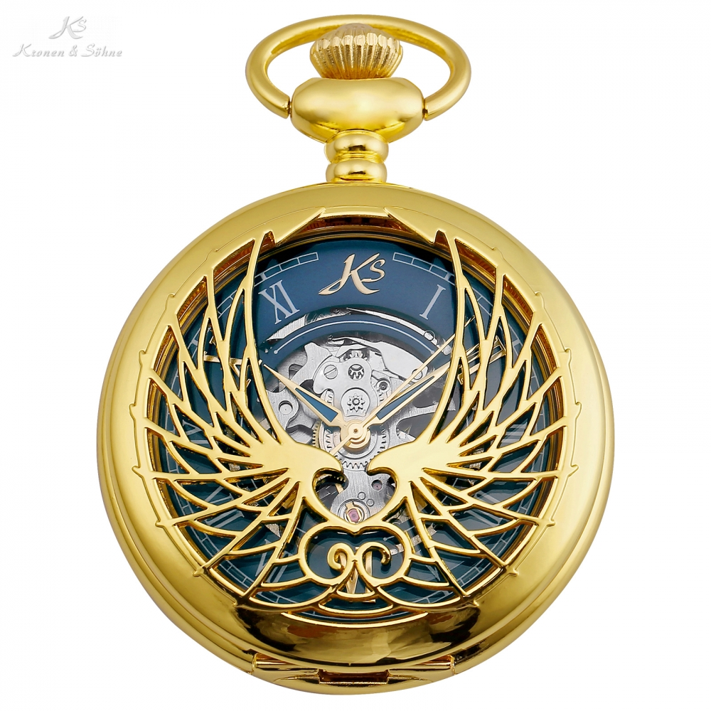 KS Retro Gold Watch Hollow Wings Roman Number Clock Male Key Style Pendant Fob Chain Gift Box Mechanical Pocket Watches /KSP121 ks black skeleton gun tone roman hollow mechanical pocket watch men vintage hand wind clock fobs watches long chain gift ksp069