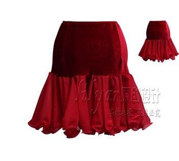 Latin Dance Exercise Skirt, Gongfu Half-length Skirt, Pleated Skirt, Hip Skirt, Red Fishbone Skirt фото