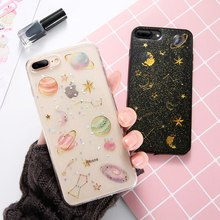 KISSCASE Fashion Planet Space Case For iPhone 8 7 6s 6 Plus X Soft Silicone Moon Sequins 5s 5 SE Caso Conque