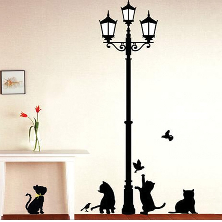 Cat Under the Lights Wall Stickers Living Room TV/Sofa Background Mural Decal DM57-0100 Three generations