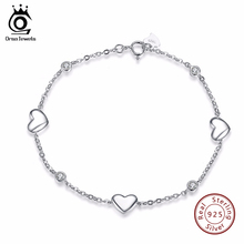 ORSA JEWELS 925 Sterling Silver Bracelet for Women with 3 Pieces Genuine 925 Silver Heart Charm Bracelets Party Jewelry SB02(China)