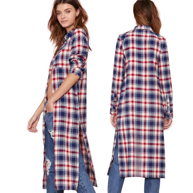 Retro super long loose BF boyfriend shirts long sleeve red and blue plaid  blouse shirt tops with split in side 73199b90c1a