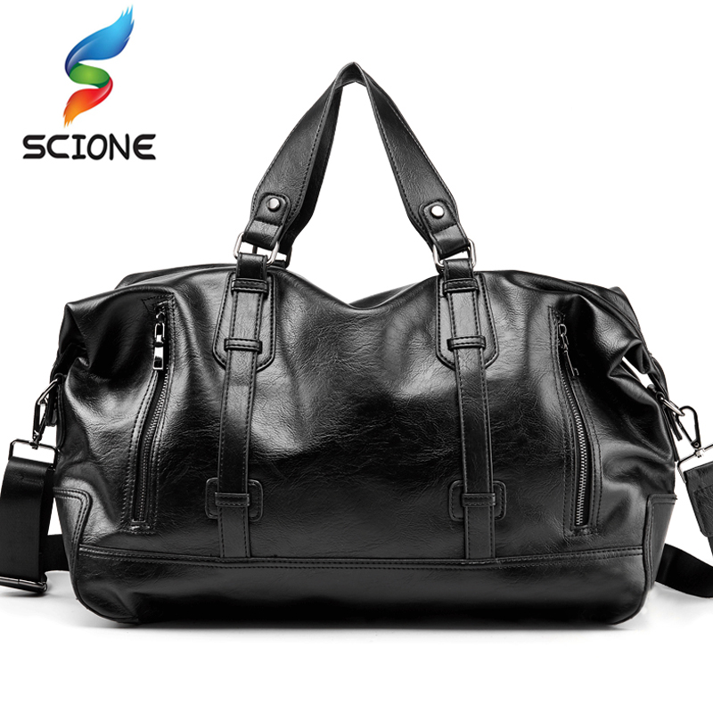 Outdoor Men Sports Fitness Training Shoulder Bags Classic Soft PU Leather Fitness Gym Bags Messenger Bags Travel Duffle Handbags