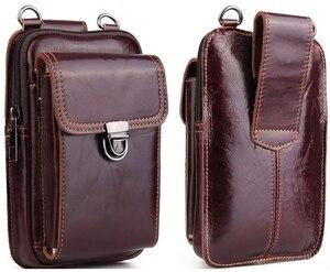 Image 1 - حقيبة خصر من الجلد الأصلي لهواتف آيفون/وسامسونج/سوني/إل جي حقيبة كتف ذكية مزودة بحزام لحمل الهواتف المحمولة دون 6.5 بوصة