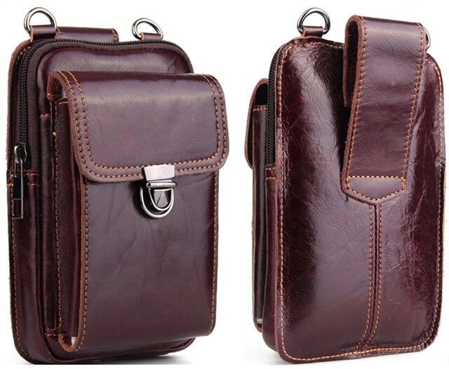 حقيبة خصر من الجلد الأصلي لهواتف آيفون/وسامسونج/سوني/إل جي حقيبة كتف ذكية مزودة بحزام لحمل الهواتف المحمولة دون 6.5 بوصة