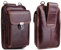 Genuine Leather Waist Bag for iphone/Samsung/Sony/LG Smart Phone Shoulder Bag Belt Pouch for Below 6.5inch Mobile Phones Case