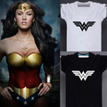 Superhero Wonder Woman Letter Print T-shirt Mujer Blanco Negro Moda EE. UU. Camiseta Tee Top Adolescente Camiseta Serie Justice League