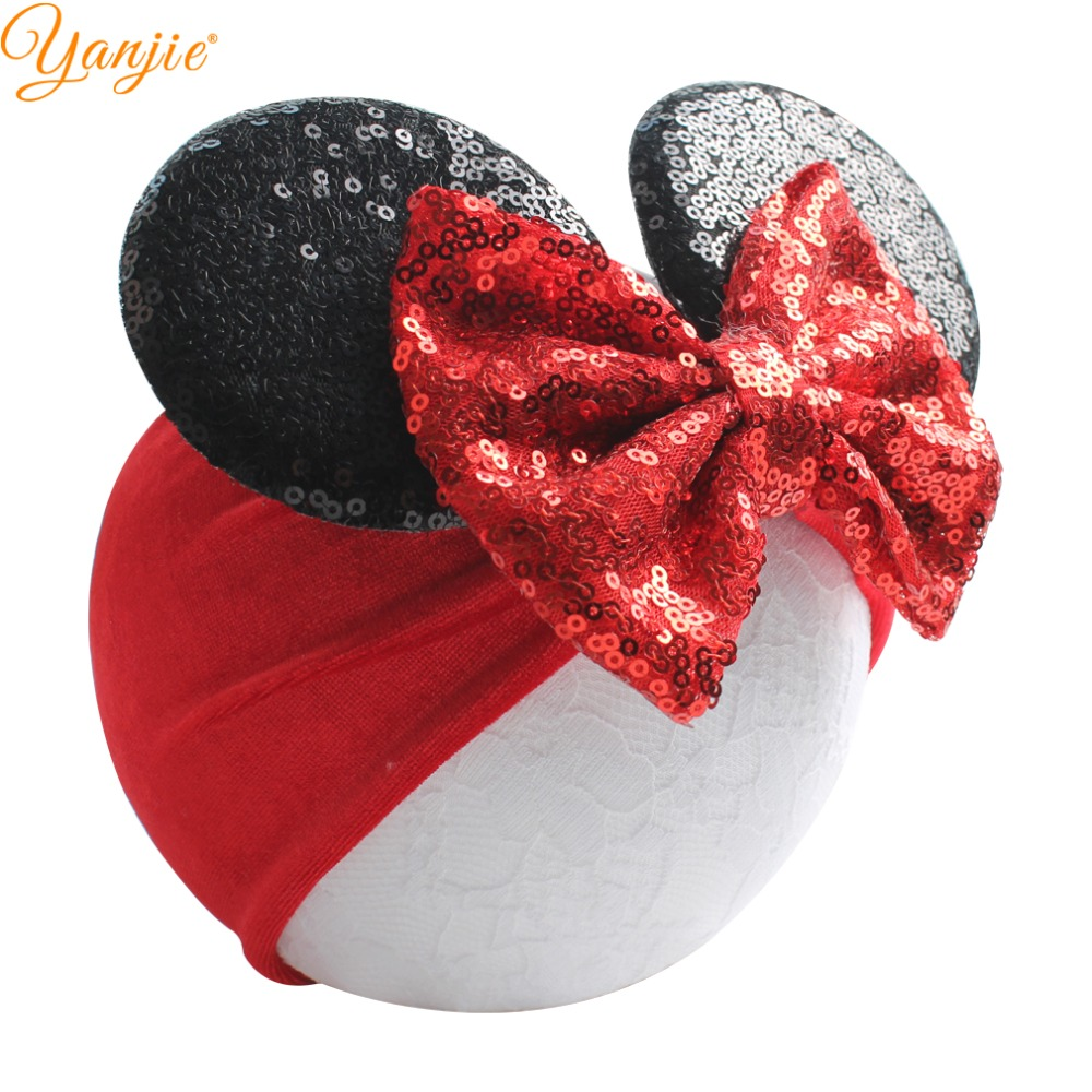Classical Sequins Bows Minnie Mouse Ears Headband Accessories For Girls Hot-Sale Trendy Soft Velvet Head Wrap For Kids Head Wear