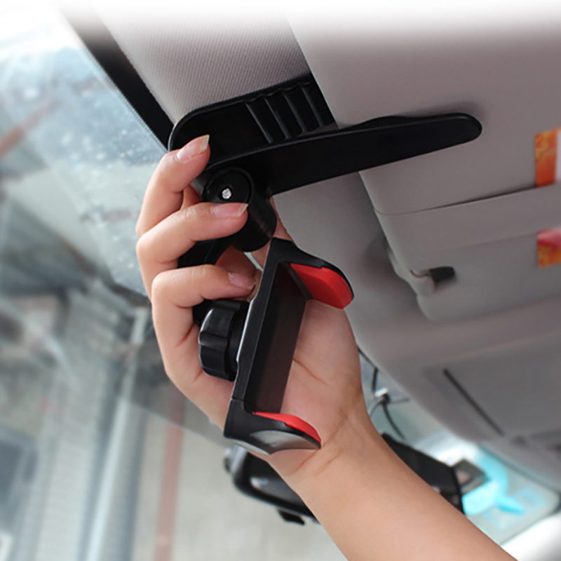 Image 4 - Universal Car Sun Visor Phone Holder 360 Degree Rotation Automobiles Navigation Mount Stand Clip Mobile Phone Bracket Accessory-in Ornaments from Automobiles & Motorcycles
