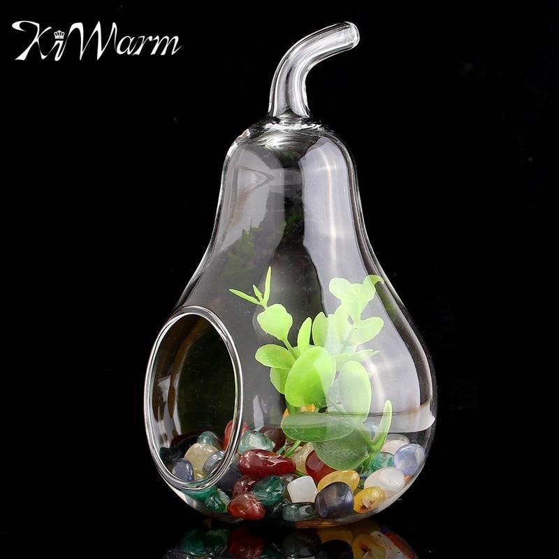 Pear Shape Glass Flower Vase Crystal Planter Hydroponic