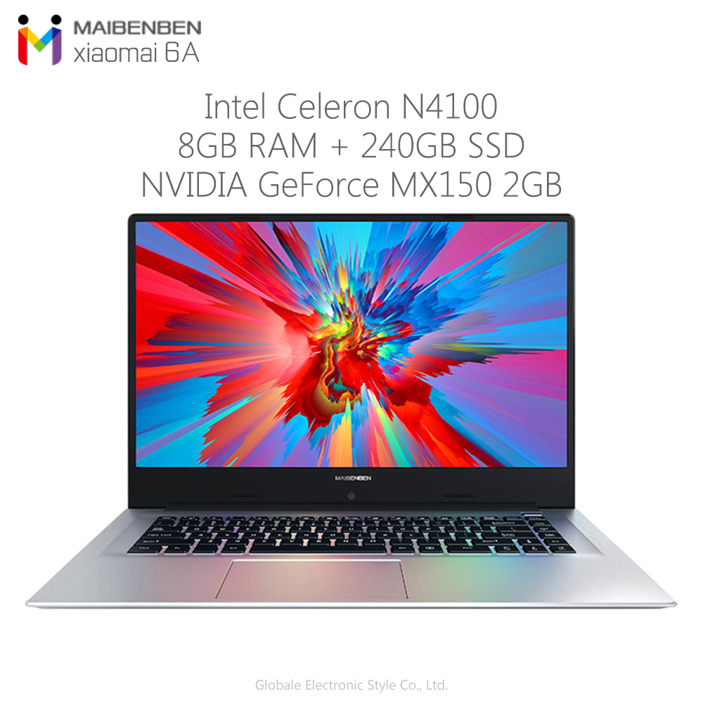 Originbal Maibenben Xiaomai 6A Laptop 15.6 Inch Windows 10 Home Intel N4100 8GB RAM 240GB SSD HDMI Built-in 3950mAh Notebook
