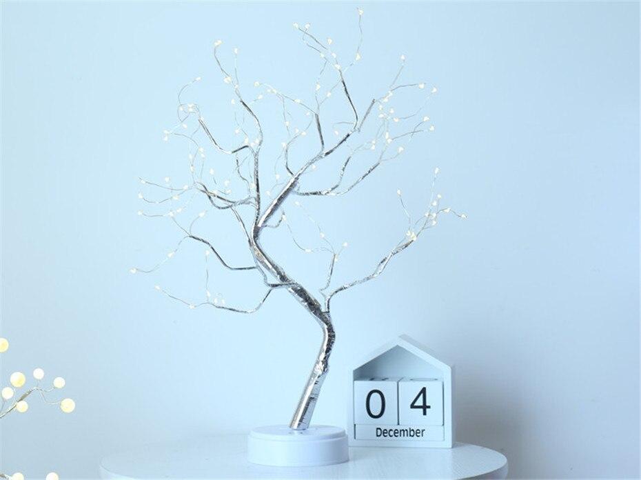 Árvore de luz led candeeiro mesa cabeceira