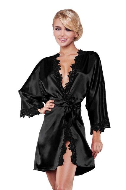 3a3b27ef4d15 Luxury Women Silk Long Sleeve Nightwear Satin Dressing Gown Robe Deep  V-Neck Lace Sleepwear