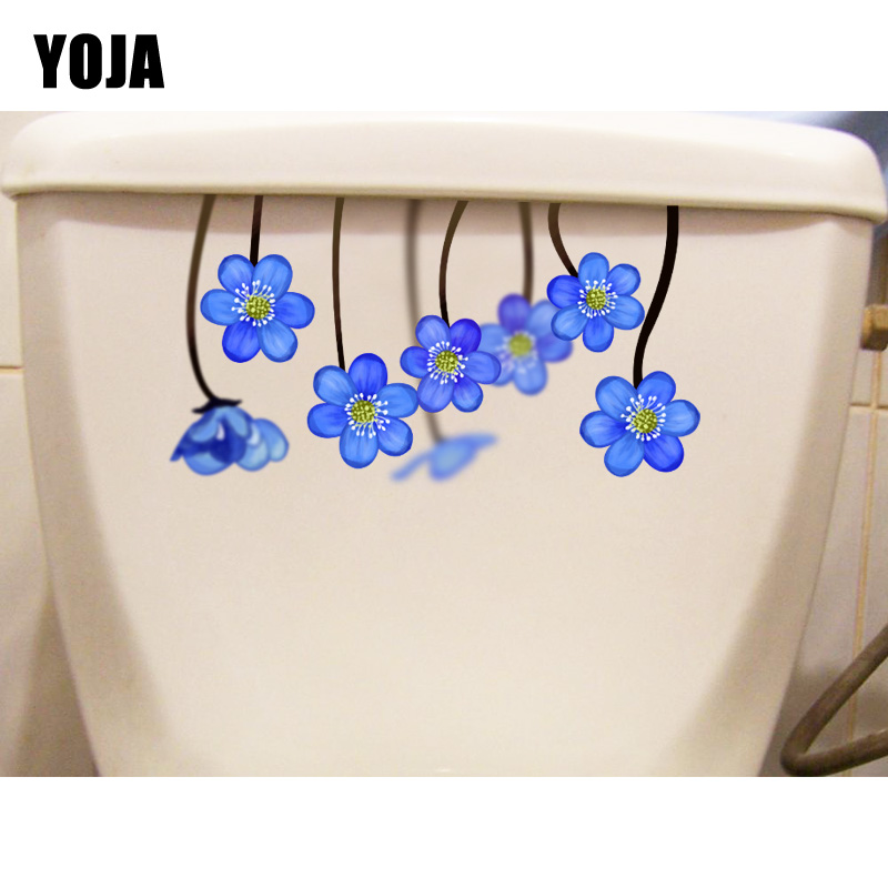 YOJA 22.8*12.5CM Blue Flowers Home Decoration Wall Decal Bathroom Toilet Sticker T1 0377 -in Wall Stickers from Home & Garden on Aliexpress.com | Alibaba Group