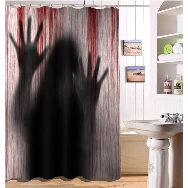 Shower Curtain Bloody Handprints Creepy Halloween 3D Printed Screen Bathroom For Hotel House Decor