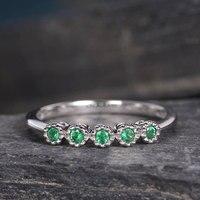 Натуральный изумруд обручальное 14 К белого золота круглая огранка Зеленый Ювелирные изделия могут камень алмаз для Для женщин свадебные ко