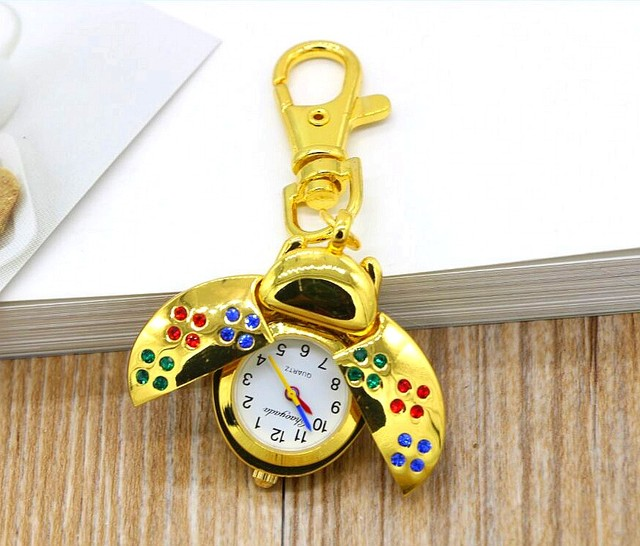 New fashion quartz Hollow out design beetle children lovely Pocket watch necklace keychain 1pcs students kids gidt watches