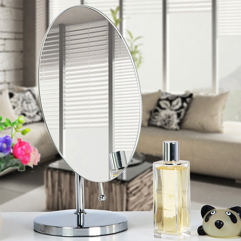 Smooth 360 Degrees Rotation Stylish Chrome Finish Tabletop Vanity Makeup Mirror, OvalSmooth 360 Degrees Rotation Stylish Chrome Finish Tabletop Vanity Makeup Mirror, Oval