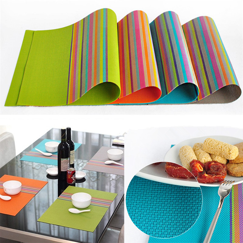 4pcs set pvc placemat dining table mats set de table bowl for Set de table matelasse